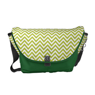 Green and White Zigzag Stripes Chevron Pattern Commuter Bags