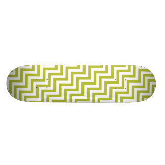 Green and White Zigzag Stripes Chevron Pattern Custom Skateboard