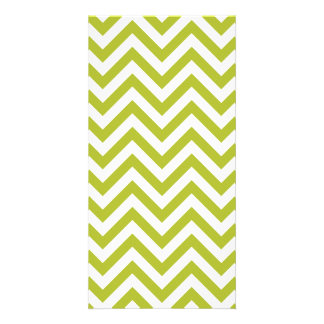 Green and White Zigzag Stripes Chevron Pattern Customised Photo Card