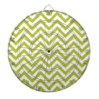 Green and White Zigzag Stripes Chevron Pattern Dartboard