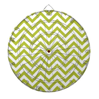 Green and White Zigzag Stripes Chevron Pattern Dartboard With Darts