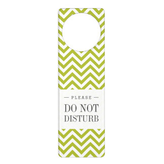 Green and White Zigzag Stripes Chevron Pattern Door Hanger