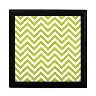 Green and White Zigzag Stripes Chevron Pattern Gift Box