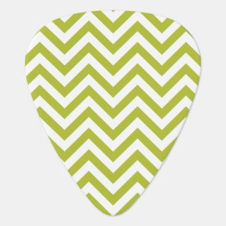 Green and White Zigzag Stripes Chevron Pattern Guitar Pick