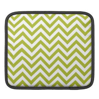 Green and White Zigzag Stripes Chevron Pattern iPad Sleeve