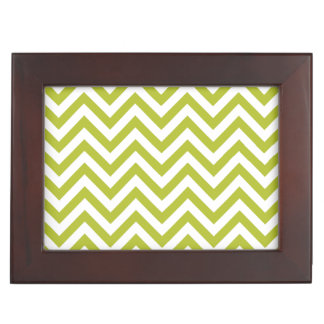 Green and White Zigzag Stripes Chevron Pattern Keepsake Box