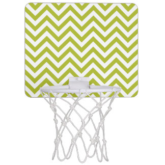Green and White Zigzag Stripes Chevron Pattern Mini Basketball Hoop