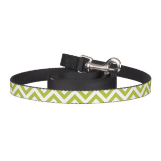 Green and White Zigzag Stripes Chevron Pattern Pet Leash