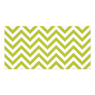 Green and White Zigzag Stripes Chevron Pattern Photo Cards