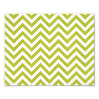 Green and White Zigzag Stripes Chevron Pattern Photo Print