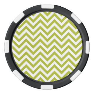 Green and White Zigzag Stripes Chevron Pattern Poker Chips