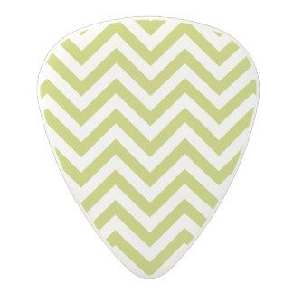 Green and White Zigzag Stripes Chevron Pattern Polycarbonate Guitar Pick