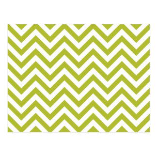 Green and White Zigzag Stripes Chevron Pattern Postcard