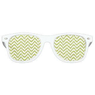 Green and White Zigzag Stripes Chevron Pattern Retro Sunglasses