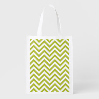 Green and White Zigzag Stripes Chevron Pattern Reusable Grocery Bag