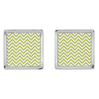Green and White Zigzag Stripes Chevron Pattern Silver Finish Cufflinks