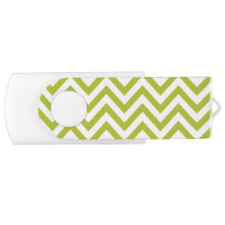 Green and White Zigzag Stripes Chevron Pattern USB Flash Drive
