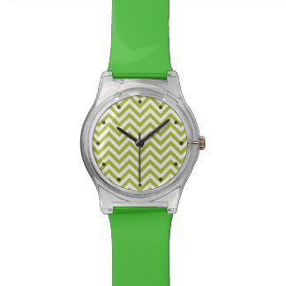 Green and White Zigzag Stripes Chevron Pattern Watch