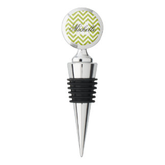 Green and White Zigzag Stripes Chevron Pattern Wine Stopper