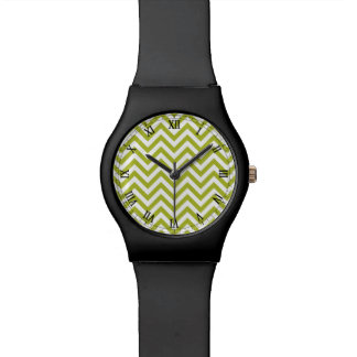 Green and White Zigzag Stripes Chevron Pattern Wristwatches