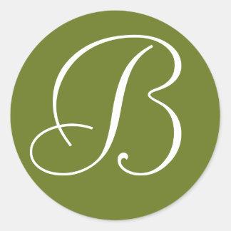 Green and Whte Monogrammed Wedding Envelope Seals Round Sticker