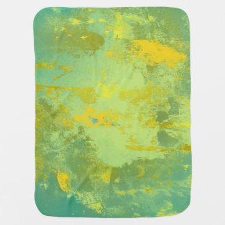 Green and Yellow Abstract Art Baby Blanket