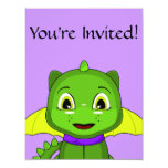 Green And Yellow Chibi Dragon Personalized Announcement