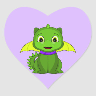 Green And Yellow Chibi Dragon Heart Stickers