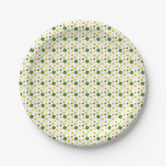 Green and yellow clovers paper plates