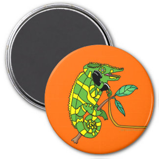 Green and Yellow Cute Cartoon Chameleon Talking Magnet