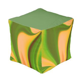 Green and Yellow Decorative Swirl Pouf