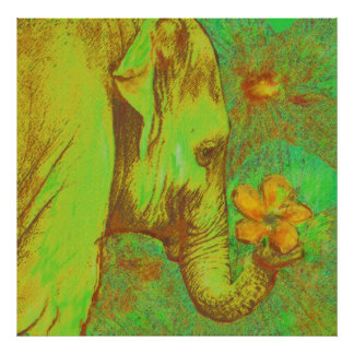green and yellow elephant poster