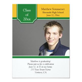 Green and Yellow Gold Photo Graduation Invitation
