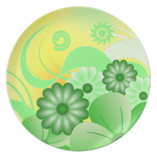 Green and Yellow Hibiscus Floral Dinner Plate