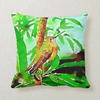 Green  and yellow hummingbird flowers cushion