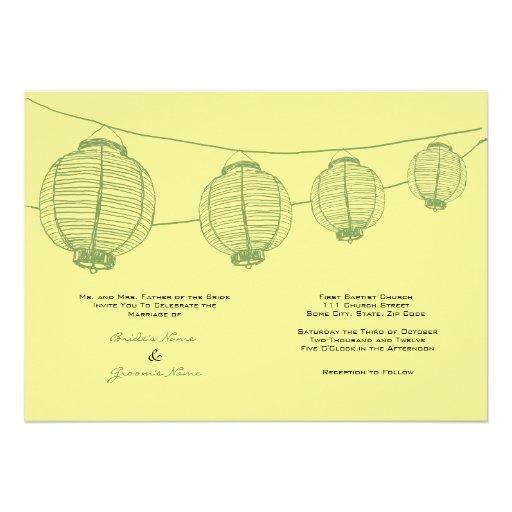 Green and Yellow Lanterns Wedding Invitation