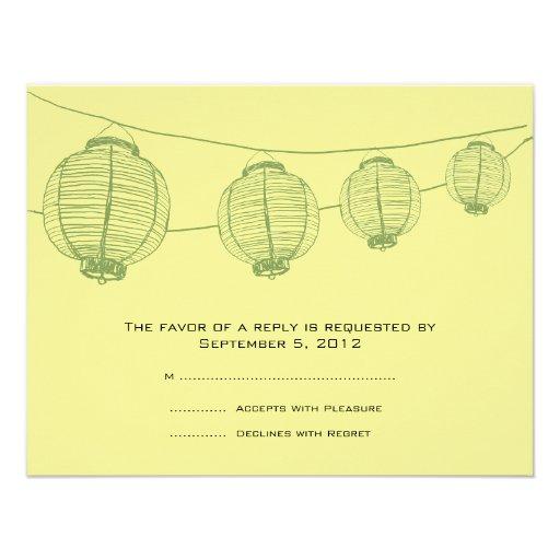 Green and Yellow Lanterns Wedding RSVP Invitation