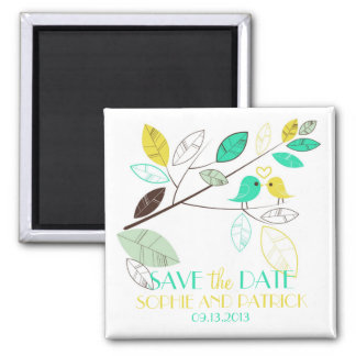 Green and Yellow Lovebirds Save the Date Magnet