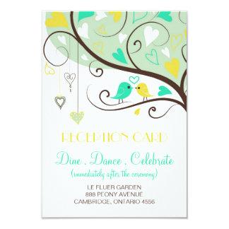 Green and Yellow Lovebirds Wedding Reception Card