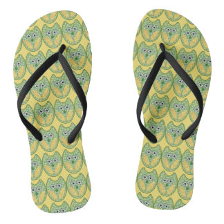 Green And Yellow Owl Flip Flops Thongs
