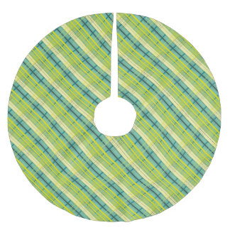 green and yellow plaid pattern brushed polyester tree skirt