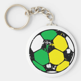 Green and yellow soccer ball basic round button key ring