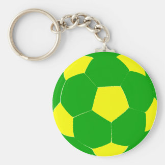 Green and Yellow Soccer Ball Key Ring
