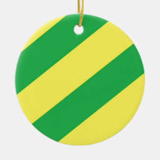 Green and Yellow Stripes Ceramic Ornament