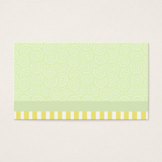 Green and Yellow Swirls and Stripes Business Card