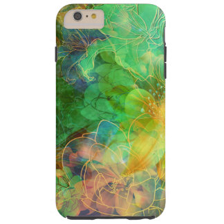 Green And Yellow Tones Abstract Floral Tough iPhone 6 Plus Case