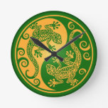 Green and Yellow Yin Yang Geckos Wall Clock