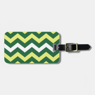 Green and Yellow Zigzags Luggage Tag