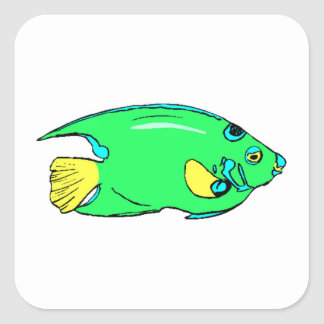 Green Angel Fish Square Sticker