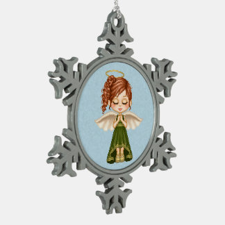 Green Angel Pixel Art Pewter Snowflake Decoration